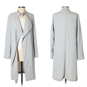 Forever21 Pale Blue Long Drape Collared Trench S